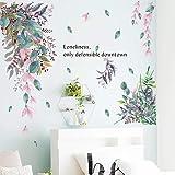 WandSticker4U® - Aquarel wandtattoo BLÄTTER REGEN kleurrijk I wandafbeeldingen: 107x101 cm I muursticker kinderen plant bloem