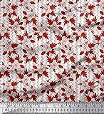 Soimoi Rot Poly Georgette Stoff Quadratisch, Blätter &