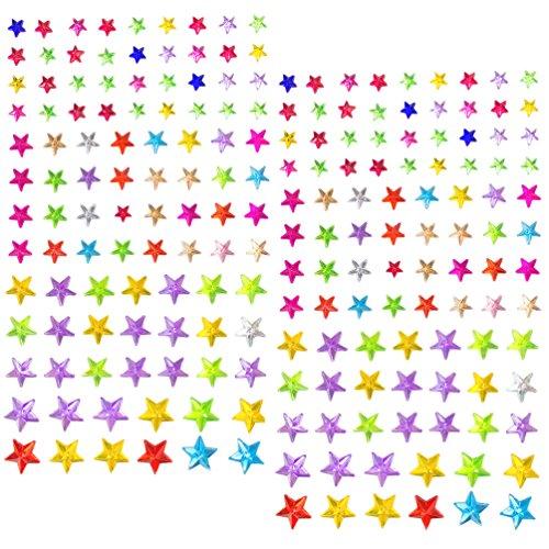Oblique Unique® 180 Selbstklebende Steine Sticker Verzierung Deko Herzen Sterne Tropfen Kreise (Sterne Bunt)