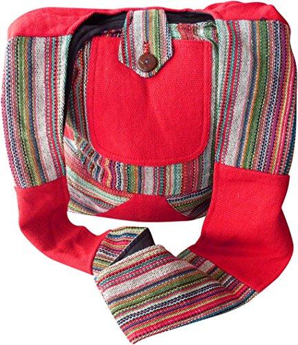 NATURAL FLOW, Borsa a spalla donna Multicolore Multicoloured Large Red