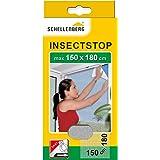 Schellenberg 20403 nylon horrengaas, muggen en insectengaas inclusief bevestigingstape, bevestiging zonder te boren, 150 x 18