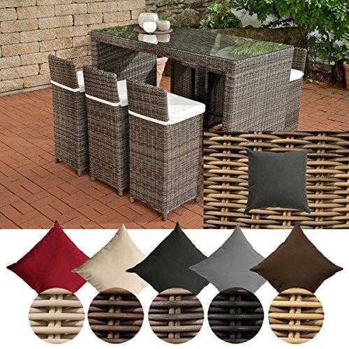 CLP Gartenbar-Set Lenox 5mm aus Polyrattan | Gartenmöbel-Set: 6 Barhocker inkl. 6 Sitzkissen und EIN Bartisch erhältlich Rattanfarbe: Natura, Bezugfarbe: Eisengrau