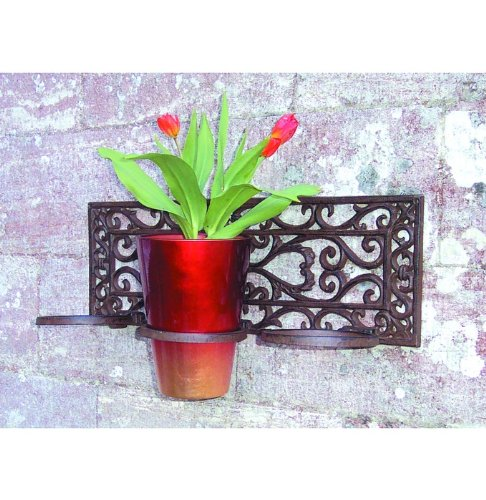 esschert 18 x 52 x 16cm castiron flower pot holder classic 3pots brown