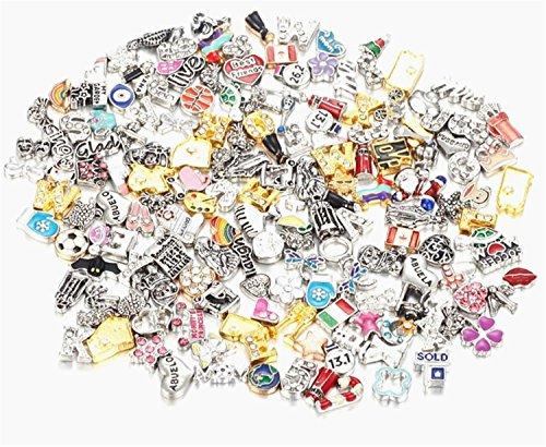 Lomire Jewellery Making Charms, Großhandel Plated Mixed Metall Schwimmende Reize Medaillon Random Style DIY für Schmuck Machen und Crafting (Reize Großhandel Schmuck)