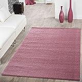 T&T Design Shaggy Teppich Hochflor Modern Einfarbig Kuschelig Weich Wohnzimmer Pink, Größe:80x150 cm