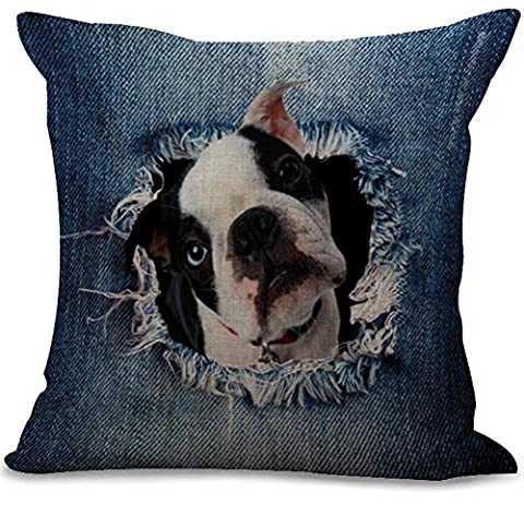 Eazyhurry Denim Silly Dog Print Cotton Linen Square Pillow Case with Invisible Zipper Decorative Cushion Cover Throw Home Decor for Bench/Couch/Sofa 18