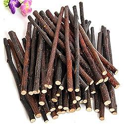 Steellwingsf - Varillas de madera natural para masticar para mascotas pequeñas, conejo, hámster, cobaya, juguete