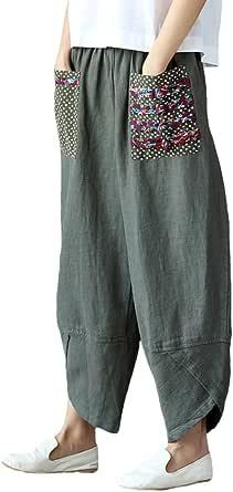 FTCayanz Donna Pantaloni Sciolto Pantalone Larga