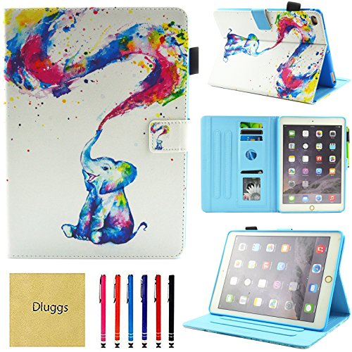 iPad Air 2 Hülle, Neue iPad 2017 Fall, iPad 9,7 2018 Tasche, dluggs PU Leder Folio Smart Case Cover mit Auto Sleep/Wake Funktion für Apple iPad 9,7 2017/2018 Modell/iPad Air 1 2 03 Cute Elephant