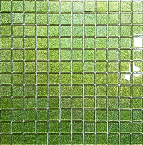 Glas-mosaik-fliese (Glas Mosaik Fliesen Matte in Grün mit Glitzer MT0020)
