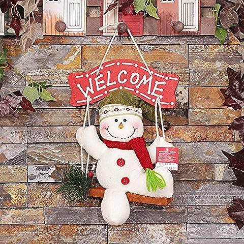 Global- 26 * 20cm Decorazione di Natale, Natale Corona di fiori, porta appeso Natale, pupazzo di neve regali di Porta Hang Natale creativo ( colore : # 1 )