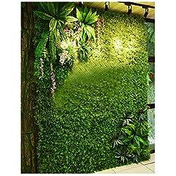 ChenChengShop Mur végétal Mur végétal vert Gazon Intérieur Protection de l'environnement Décoration murale Pelouse verte Plastique Faux Fleur Image Fond Mur @ (Color : 4)