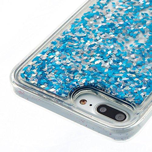 iPhone 7 Plus Coque Liquide, iPhone 7 Plus Cover Silicone, SainCat Ultra Slim Transparent TPU Silicone Case pour iPhone 7 Plus, Anti-Scratch Liquid Crystal Gel Housse Transparent Silicone Gel Case, Bl Silver Blue
