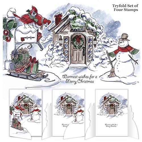 "Preisvergleich Produktbild Art Impressions Try'folds Cling Rubber Stamps 10""X4.5""-Christmas Scene"