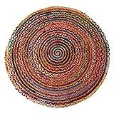 Rajrang Tappeto Rotondo Diametro 122 cm - Tappeto colorato in Tessuto Cinese con Stracci Boho Decorazione Bohémien Indiana - Tappeti Multicolor per Soggiorno - Tappeto Decorativo - Tappeti