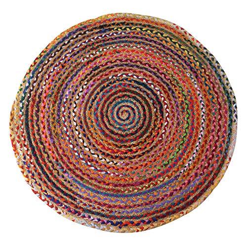 RAJRANG BRINGING RAJASTHAN TO YOU Alfombras Chindi - Algodón Trenzado Redondo - Chindi Reciclado - Multicolor - 122x122 cm - Elemento Decorativo para el hogar