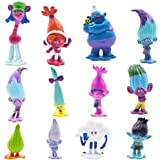 SZWL 12pcs Trolls Doll Cake Toppers, Mini Trolls Figuras de acción Cumpleaños Cake Topper, Troll Cake Decoración para niños C