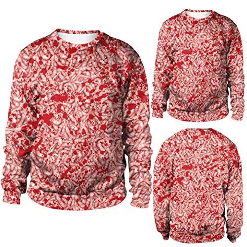 Ugly Hässlich Halloween Sweatshirt Damen Frauen Maggots Print Langarm Pullover Bluse mit Kapuze ()