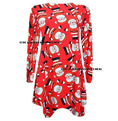 FK Styles Damen Rentier Schneemann Santa Claus Druck Weihnachten Swing Kleid Mini santa red