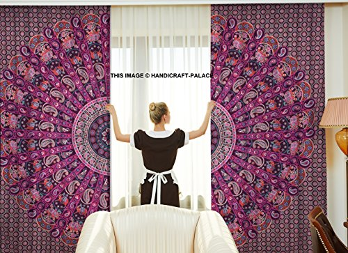 Exklusive Paisley Mandala Schlafzimmer Gardinen indischen Tuch Balkon-Set ROOM DECOR Vorhang Boho...
