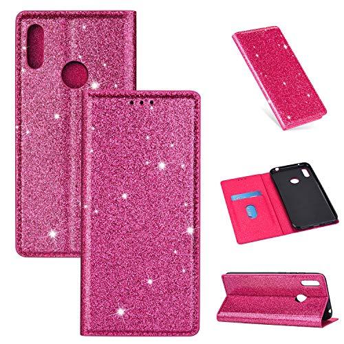 Nadoli Glitzer Wallet Hülle für Galaxy A40,Bling Schutzhülle Leder Flip Case Lederhülle mit Kartenfach Standfunktion Klappbar Magnetisch Etui für Samsung Galaxy A40