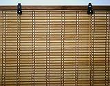 6 modelos 14 medidas de estores de bambú cortina de madera persiana enrollable (90 x 175 cm, Marrón)