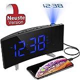 (Neuste Version) PICTEK Projektionswecker, Wecker, Radiowecker/Digital Wecker/Großes Display/Dimmer/Dual-Alarm/4 Alarmtöne, Snooze/Timer,12/24-Stunden,USB-Anschluss,120° Projektor,180°Flip-Anzeige