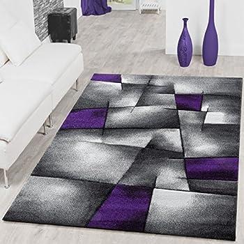 T&T Design Tapis de salon moderne à carreaux - Contours découpés -  Gris/violet, Polypropylène, gris, 200x290 cm