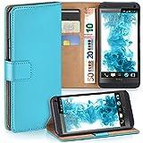 moex HTC One M7 | Hülle Türkis mit Karten-Fach 360° Book Klapp-Hülle Handytasche Kunst-Leder Handyhülle für HTC One M7 Case Flip Cover Schutzhülle Tasche