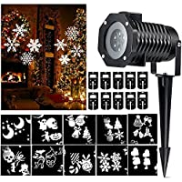 Christmas LED Landscape Projector Lamp Waterproof Moving White Snowflake Spotlight Lights Star Shower Lighting Indoor Outdoor With 10 Replaceable Lens for Xmas Party Garden House Home Wall Decoration