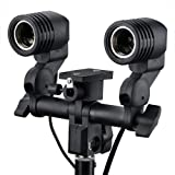 SHOPEE Branded E27 Double Light Socket with Light Stand Swivel Mount & Umbrella Holder for Photography, Film, & Video Studio