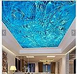 Malilove 3D Fototapete 3D-Decke Tapeten Wandmalereien Sky Blue Water Linien Abgehängte Decke Fresken An Mode Wohnzimmer Dekoration200X140CM