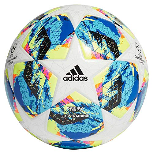 adidas Jungen Finale TTRN Turnierbälle für Fußball, top:White/Bright Cyan Yellow/Shock pink Bottom:Collegiate royal/Black/solar orange, 5