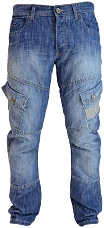 Crosshatch Mens New Cargo Combat Light Washed Straight Leg Jeans