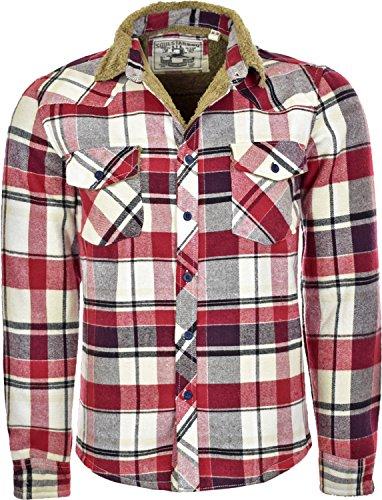 Da uomo Soul Star scacchi invernale pelliccia maniche lunghe camicie Red