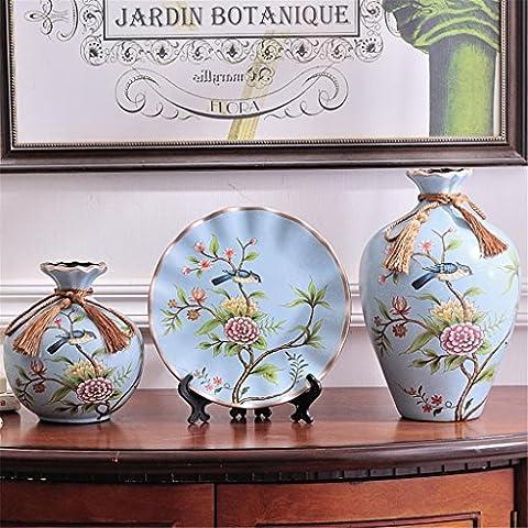 Vase de table en céramique Creative Style européen trois Ensembles Home Salon Décoration Marry Cadeau Arrangement de fleurs Flowerware Luxueux Décorations Beauté Bouteille