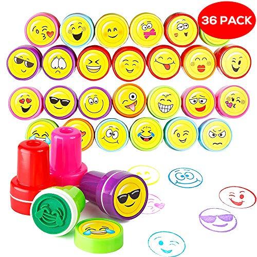THE TWIDDLERS 36er Smiley Stempel Set in 10 Verschiedene Emoji Designs & 5 ideal als Partyzubehör für Kindergeburtstag, Partyartikel, Geburtstags-Mitbringsel & Party-Scherzartikel