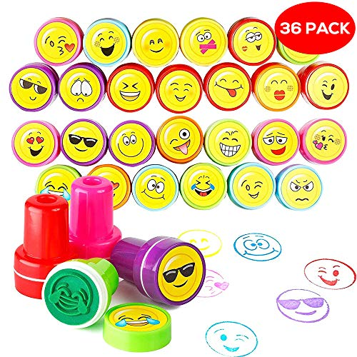 emoji stempel THE TWIDDLERS 36er Smiley Stempel Set in 10 Verschiedene Emoji Designs & 5 ideal als Partyzubehör für Kindergeburtstag, Partyartikel, Geburtstags-Mitbringsel & Party-Scherzartikel