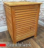 Großer Wäschekorb Wäschebox aus Holz mit Baumwollsack 46 x 46 x 60 cm