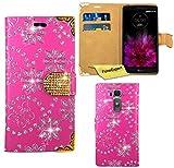 LG G Flex 2 Hülle, FoneExpert® Bling Luxus Diamant Hülle Wallet Case Cover Hüllen Etui Ledertasche Premium Lederhülle Schutzhülle für LG G Flex 2 + Bildschirmschutzfolie (Rosa)