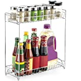 Homgeek 2-Tier Spice Rack Standing Rack Kitchen Bathroom Countertop Storage Organizer Bottle Shelf Holder Chrome
