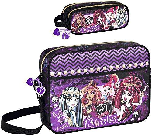 Monster High XL Schultertasche und Federmäppchen, schwarz