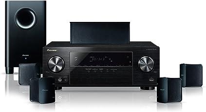 Pioneer 5.1 Heimkinosystem mit AV Receiver und Lautsprecher Set, HTP-206, 130 Watt/Kanal, Multiroom, Bluetooth, Dolby TrueHD, 4K UltraHD Durchleitung, Radio, Front USB/Audio in, Eco Mode, Schwarz