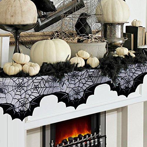 AerWo Halloween Dekoration,50 x 200cm Schwarze Spitze Spinnennetz Fledermaus,Dekoration für Kamin,Türvorhang Tür Tisch Fenster Dekoration