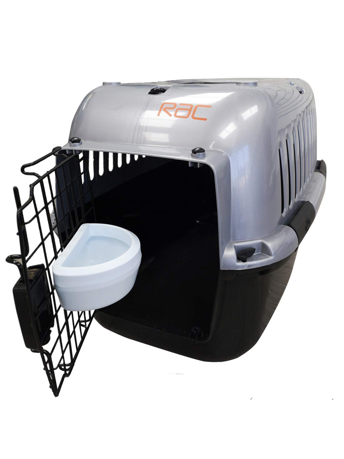 RAC Pet Carrier Plastic Portable Transport Medium Cage Black/Silver – M