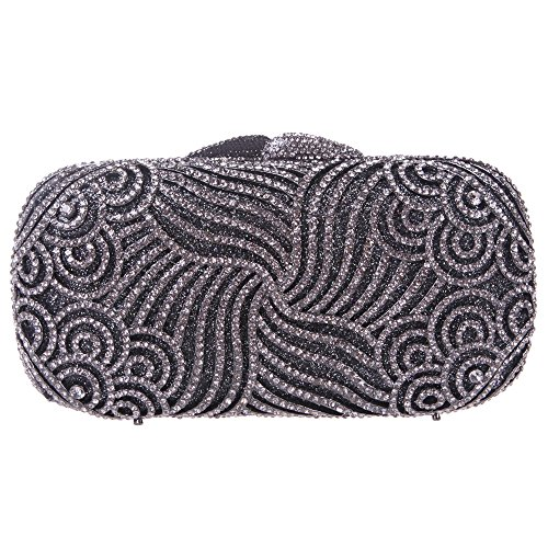 Bonjanvye Bling Rhinestone Clutch Paisley Clutch Hard Case Clutch Purse Gray (Paisley Michael Kors)