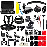 Soft Digits 48 in 1 Kit di Accessori per GoPro Hero 5 4 3+ 3 2 1 Action Camera Accessorio per SJCAM SJ4000 5000 6000 7000 Xiaomi Yi-Polipo Treppiedi+Manico Galleggiante+360 Gradi Rotazione Wrist Strap+Head Strap per Sport all
