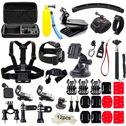 Soft Digits 48 in 1 Kit di Accessori per GoPro Hero 5 4 3+ 3 2 1, Action Camera Accessorio per SJCAM SJ4000 5000 6000 7000 Xiaomi Yi VicTsing IceFox Apeman ODRVM DBPOWER , 360 Gradi Rotazione Wrist Strap + Head Strap per Sport all'aperto
