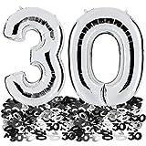 Ballon Zahl 30 in Silber + 30er Metallic Konfetti 28g - XXL Riesenzahl 85cm - zum 30. Geburtstag - Party Geschenk Dekoration Folienballon Luftballon Happy Birthday Dreißig