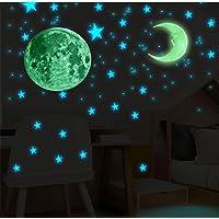 Adesivi Fluorescenti 104 Pezzi Luna + Stelle, Decorazioni Stickers Luna Stelline Luminose, Adesivo da parete per…